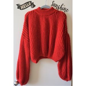Bright Red Long Balloon Billowy Sleeves Sweater L*